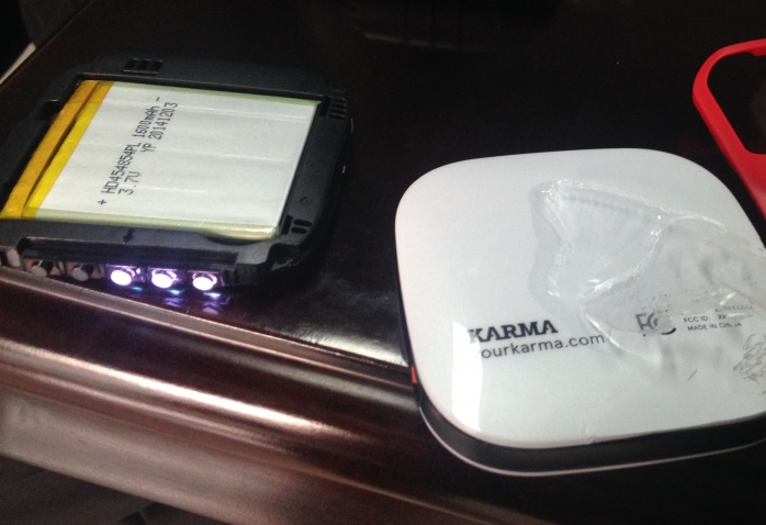 Checking out the LED operation of a naked Karma Go (left)